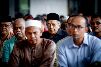 Former Prime Minister Tun Dr Mahathir Mohamad listen to the sermon during friday prayer at National Mosque, Kuala Lumpur on January 29, 2016. The Malaysian Insider/Seth Akmal.