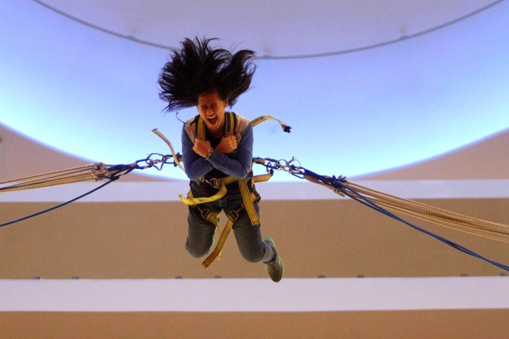 A girl is seen screaming trying on extreme indoor game called reverse bungee in One Utama Shopping Mall,Damansara,Selangor on June 14,2015.-The Malaysian Insider pic by Seth Akmal.